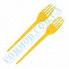 Plastic yellow forks | 160mm | 100 pieces per pack