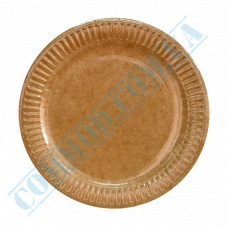 Paper round plates 18cm Kraft with PE lamination 100 pieces per pack