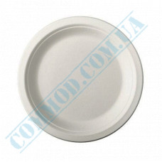 Paper plates 170mm from sugarcane (bagasse) white 125 pieces per pack