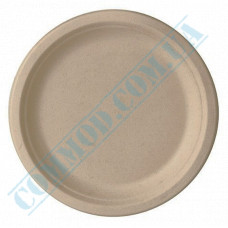 Beige paper plates 220mm from sugar cane (bagasse) 50 pieces per pack