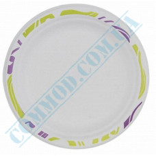 Plates paper 220mm from sugar cane (bagasse) Chinet Mosaic Huhtamaki (Poland) 50 pieces per pack