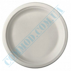 Paper plates 220mm from sugarcane (bagasse) white 125 pieces per pack