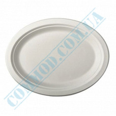 Oval paper plates made of sugar cane (bagasse) 260*200mm White 125 pieces per pack