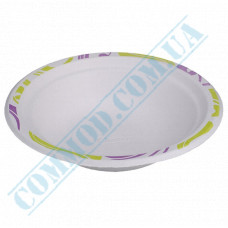 Paper plates 400ml from sugar cane (bagasse) Chinet Mosaic Huhtamaki (Poland) 50 pieces in a package