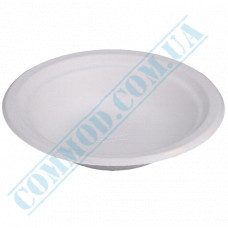 Paper plates 400ml from sugarcane (bagasse) white 125 pieces per pack