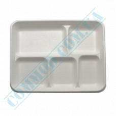 Paper plates made of sugar cane (bagasse) 267*216*28mm for 5 sections white 125 pieces per pack