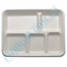 Paper plates made of sugar cane (bagasse) 324*246*28mm for 5 sections white 125 pieces per pack
