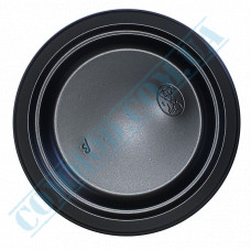 Plastic round plates d=176mm black 50 pieces per pack