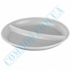 Plastic round plates d=205mm white for 2 sections 100 pieces per pack
