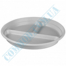 Plastic round plates d=205mm white for 3 sections 100 pieces per pack