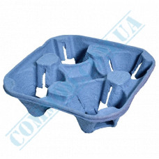 Stand holders Cardboard holders for 4 cups Blue 100 pieces per pack