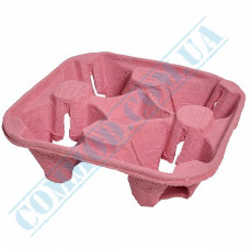 Stand holders Cardboard holders for 4 cups Pink 100 pieces per pack