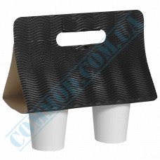 Cases for carrying 2 cups corrugated cardboard Black 25 pieces per pack
