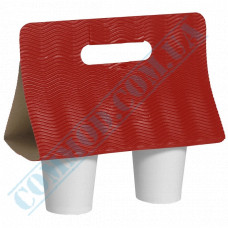 Cases for carrying 2 cups corrugated cardboard Red 25 pieces  гофрированные
