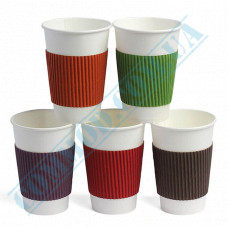 Cardboard thermal covers | for cups 230-340ml | glued | colored | 100 pieces per pack