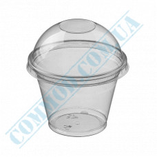 Plastic transparent dessert cups 200ml Ǿ=95mm h=73mm with Dome lid with a hole 50 pieces