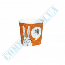 Double Wall Rippled paper cups 110ml Rabbits 20 pieces per pack