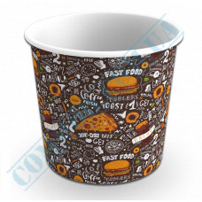 Paper cups containers 700ml V24 with dark pattern 100 pieces