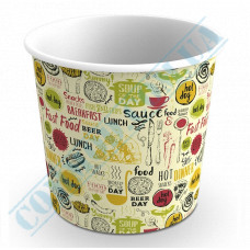 Paper cups containers 700ml V24 with light pattern 100 pieces