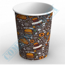 Paper cups containers 1000ml V32 with dark pattern 100 pieces