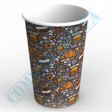 Paper cups containers 1400ml V46 with dark pattern 100 pieces