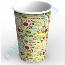 Paper cups containers 1400ml V46 with light pattern 100 pieces