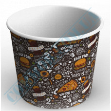 Paper cups containers 2500ml V85 with a dark pattern 50 pieces