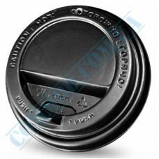 Plastic PP lids Ǿ=80mm for paper cups 250-340ml black with valve 100 pieces per pack