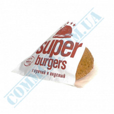 Paper corners for hamburgers with a pattern   40g/m2   140*140mm   art. 33   500 pieces per pack
