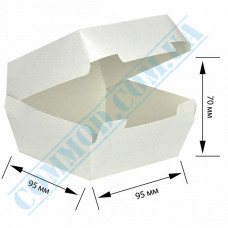 Cardboard packaging for burgers   95*95*70mm   white   25 pieces per pack