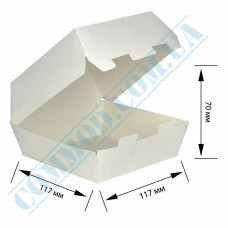 Cardboard packaging for burgers   117*117*70mm   white   25 pieces per pack