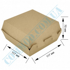 Cardboard packaging for burgers   117*117*70mm   craft   25 pieces per pack