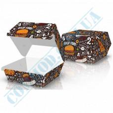 Hamburgers cardboard package 115*115*64mm Dark pattern 100 pieces per pack