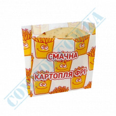 Paper bag for French fries 105*100*50mm Delicious fries fat resistant 1000 pieces article 1884