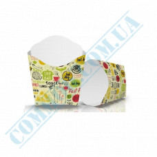 Cardboard package 68*85mm for French fries 90g light pattern 100 pieces per pack