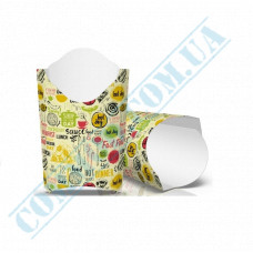 Cardboard package 91*121mm for French fries 120g light pattern 100 pieces per pack