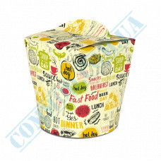 Packaging paper containers for noodles WOK 600ml light pattern 100 pieces