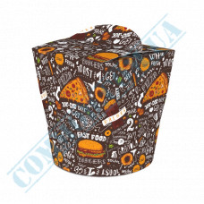 Packaging paper containers for noodles WOK 600ml dark pattern 100 pieces