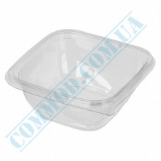 Plastic containers   375ml   126*126*51mm   transparent   with lid   for hot meals   50 pieces per pack