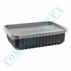 Plastic containers   500ml   179*132*37mm   black   with lid   for hot meals   50 pieces per pack