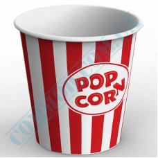 Paper containers | 5000ml | Ǿ=200mm h=203mm | for popcorn | round | 25 pieces per pack