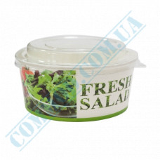 Paper containers 550ml for salad Fresh Salad with transparent lid 50 pieces