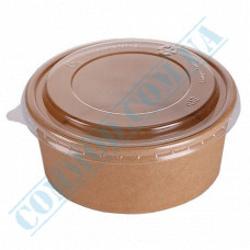 Paper containers 550ml | Ǿ=142mm h=53mm | Craft | with lid | for hot and cold foods | 50 pieces per pack