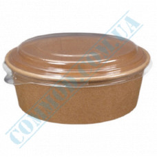 Paper containers 550ml for salad Kraft with transparent lid 50 pieces