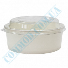 Paper containers 550ml for salad White with transparent lid 50 pieces