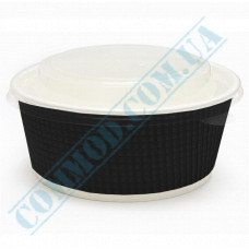 Paper containers 550ml for salad Black with transparent lid 50 pieces