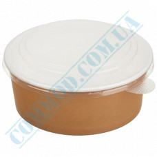 Paper containers 750ml for salad Kraft with transparent lid 50 pieces