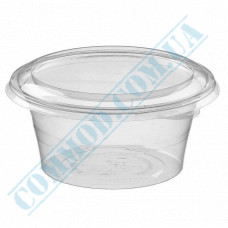 Plastic containers   250ml   Ǿ=113mm h=45mm   transparent   with lid   for cold dishes   200 pieces per package