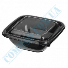Plastic PET black containers 250ml 126*126*38mm for salad with a transparent lid 50 pieces