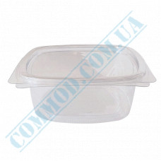 Plastic PET transparent containers 350ml 144*147*45mm for salad with a transparent hinged lid 50 pieces